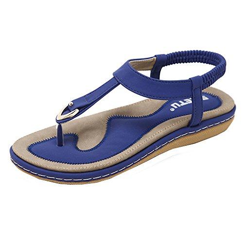 VJGOAL Damen Sandalen, Frauen Mädchen böhmischen Mode Flache beiläufige Sandalen Strand Sommer Flache Schuhe Frau Geschenk (38 EU, Blau-doppelte Linie)