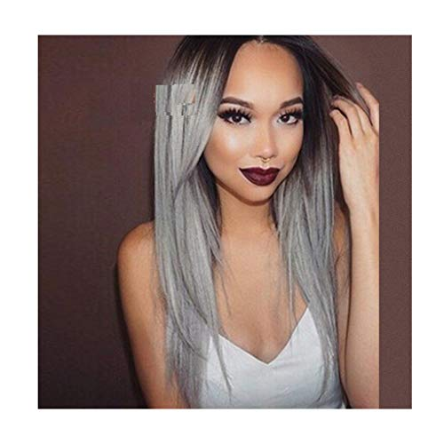 Perücke Damen modische Gradienten lange gerade Haar 6 Farben können ausgewählt werden Cosplay hochwertige weibliche Party Perücke (Color : BLACK GRADIENT SILVER ASH)
