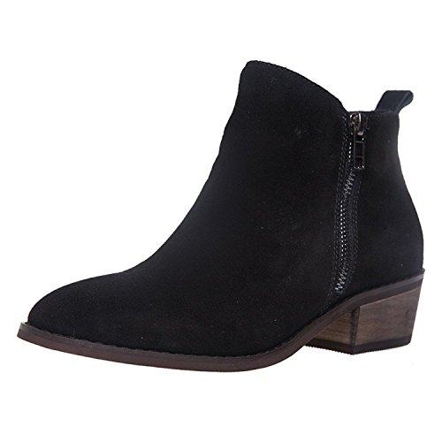 SheSole Damen Stiefeletten Leder Chelsea Boots (38, Schwarz)
