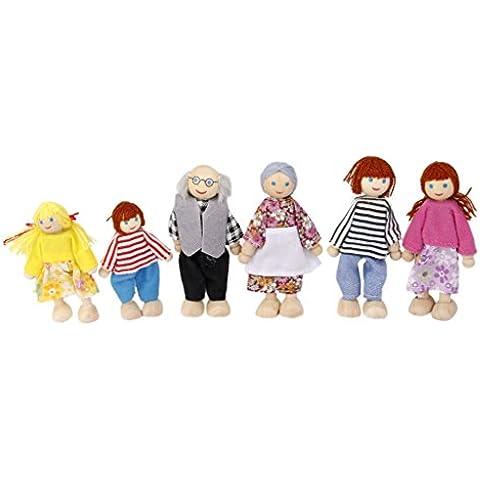 6Pcs Muñecas de Madera Miembros de Familia Artesanal Juguete Regalo para Niños Bebé