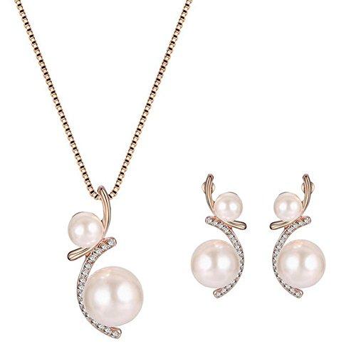 Lumanuby 1set collana + orecchini per signora fascino elegante moda gioielli pendente collana crystal pearl luxury beauty design per matrimonio cena lover gife earrings necklace jewelry set