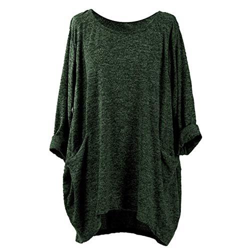 (TUDUZ Damen Langarm O-Ausschnitt Tunika Tops T-Shirt Lose Asymmetrische Blusen mit Taschen(XL,B-Kaffee))