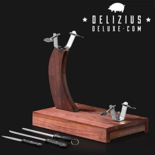 Delizius Deluxe Senior Soporte Jamonero, Madera, Marrón, 38,5 x 35 x 23 cm