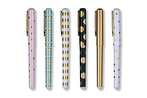 (Tri-Coastal Design - Set von 6 Black Ink Kugelschreiber - Dekoriert mit Gold Akzente in Metall mit Sternen, Polka Dot und Streifen - Geschenkbox mit einer Black Box in Goldfolie dekoriert)
