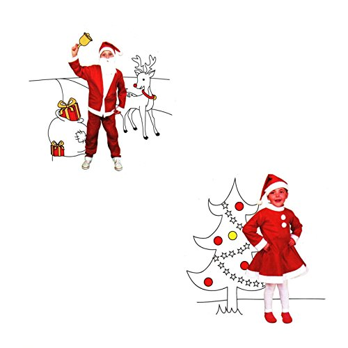 Kinder Weihnachts Kostüm Set für Mädchen & Junge Weihnachtsmann 3-6 Jahre Santa Claus (Santa Claus Kostüme Für Mädchen)