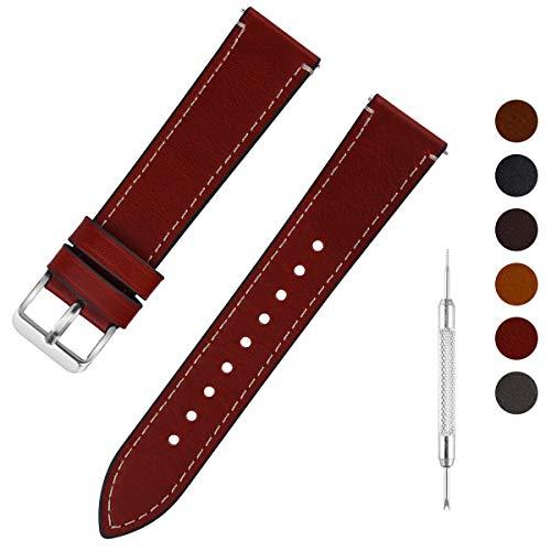 Fullmosa Uhrenarmband Leder mit Schnellverschluss, Wax Oil Serie in 14mm,Dunkelbraun+Silber Schnalle - Petite-serie