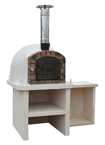 Premier Wood Fired Oven with Stand and Side Table Outdoor Barbecue Grill