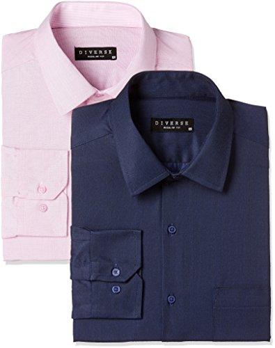 Diverse Men's Printed Regular Fit Formal Shirt (Pack of 2)(DVFCMF1L02-12_Multicolor_40)