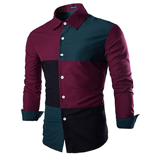 Men's Patchwork Cotton Slim Fit Long Sleeve Casual Shirts Red Green