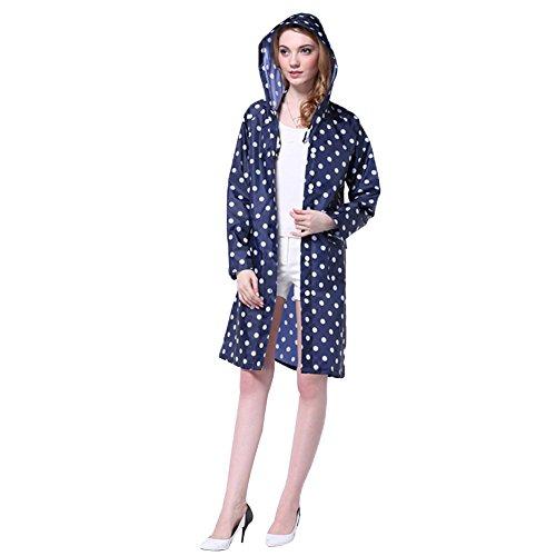 Regenmantel Damen Regen Poncho mit Kapuze Regenjacken wasserdicht modische Regenkleidung Blau