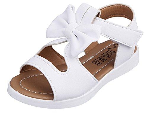 Wealsex Sandales Nœud Fille Princesse Scratch PU Cuir Bout Ouvert Blanc