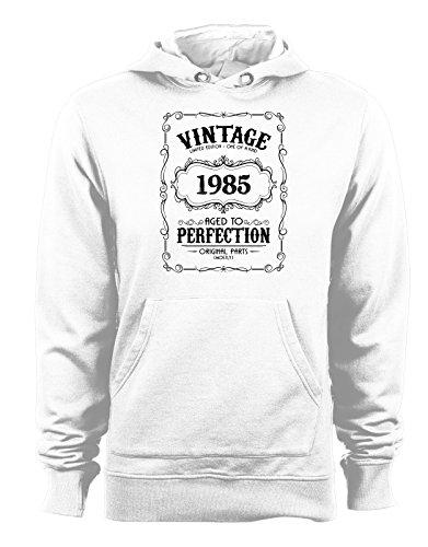 Felpa con cappuccio Vintage Limited Edition 1985- Age of perfection- idee regalo- compleanno- - Tutte le taglie Bianco