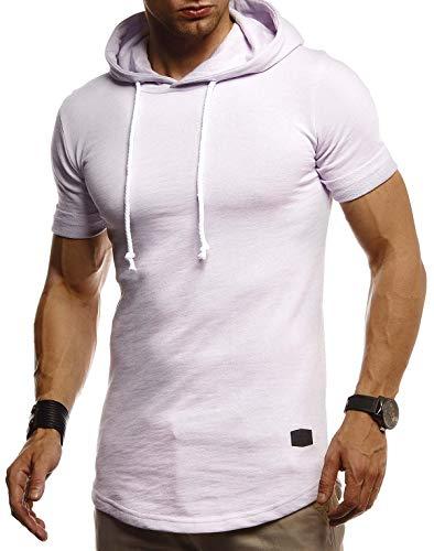 LEIF NELSON Herren Sommer T-Shirt mit Kapuze Slim Fit Baumwolle-Anteil | Cooles Basic Männer T-Shirt Kapuzenshirt | Jungen Kurzarmshirt Kurzarm Lang | LN8317 Purple X-Large -