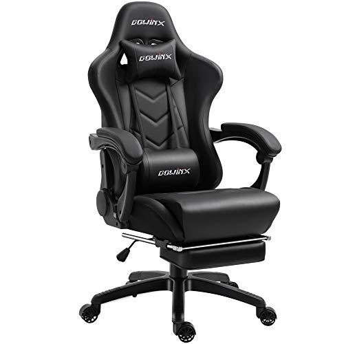 Dowinx Chaise Gaming Ergonomique pour Chaise de Jeu pour Ordinateur avec Support Lombaire de Massage, Fauteuil de Style Course, Chaises en Cuir E-Sports Gamer avec Repose-Pieds Rétractable (Noir)