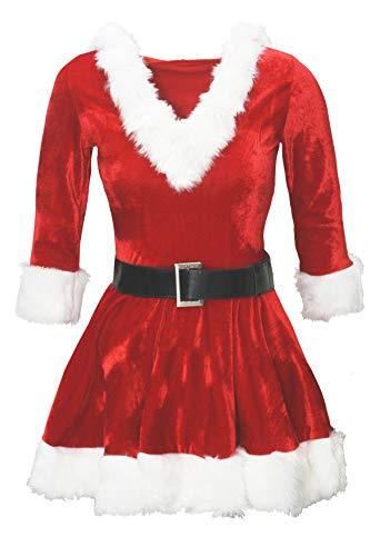 Bslingerie Fräulein Weihnachtsmann mit Kapuze Kleid Kostüm (Rot, -