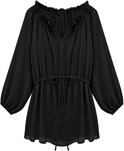 ADS - Camicia - Basic - Maniche lunghe  -  donna Nero