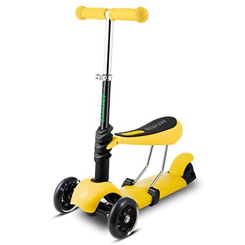 AMDirect Patinete 3 en 1 Patín Scooter con 3 Ruedas Led Luz con Asiento Desmontable Manillar Ajustable para Niños de 2-7, Color Amarillo