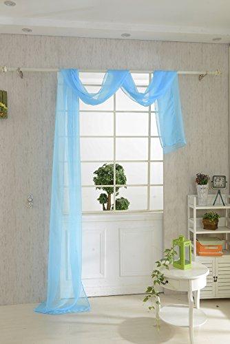 Magideal mantovana tenda voile sciarpa drappo da finestra letto misura 550x80cm - 9 colori - blu