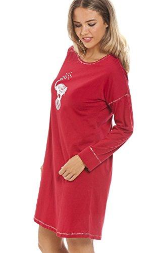 Camille - Chemise de nuit pour femme - longueur genoux/manches longues - motif éléphant Rouge