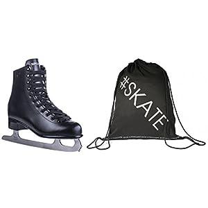 Spokey Set Eiskunstlauf-Schlittschuhe + ULTRAPOWER® Beutelrucksack | Verschiedene Modelle | Damen | Herren | Kinder | Edelstahlkufen | Kunstleder | 35-46