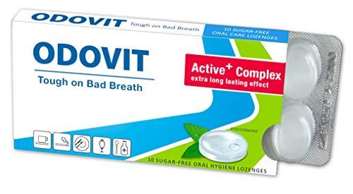 Mundgeruch – dagegen hilft ODOVIT : 5x Mundpflege-Bonbons 10er – Stark gegen Mundgeruch – mild im Geschmack – für nachhaltig frischen Atem - 3