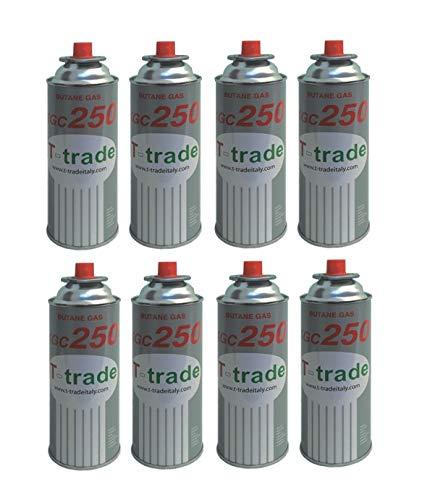 8 Stück - Kartusche Gas GPL 250 GR Art. KCG250 IDEAL Schweißgerät CANNELLO Ofen Bistro KOMPATIBEL CAMPINGAZ BRUNNERI Produkt FUNKTIONEN CP250 CAMPINGAZ