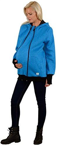 Tragejacke 3 in 1 für Mama, Papa und Baby | Umstandsjacke von Evagreen | Sportliche Freizeitjacke mit Babyeinsatz 4. Blau