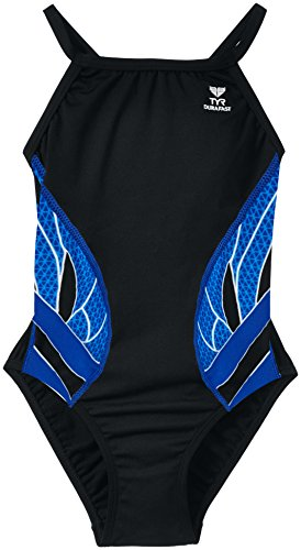 Tyr Diamondfit 'Swimming Splice-Costume da ragazza, multicolore  - multi-coloured - Navy/noir, FR : 10 ans (Taille Fabricant : 28)