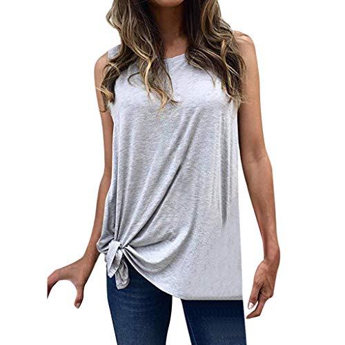 Bovake Damen Tunika-Bluse, ärmellos, weich, Rundhalsausschnitt, weich, modisch, Wilde Schultern, Tunika, Oberteil, Grau - grau - Größe: Large -