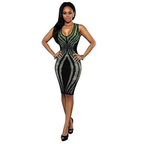 FEITONG Femmes Sexy Slim Bandage Cocktail manches bodycon Party Soirée Robes Vert