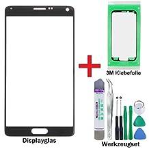 iTG® PREMIUM Juego de reparación de cristal de pantalla para Samsung Galaxy Note 4 Negro (Charcoal Black) - Panel táctil frontal oleofóbico para N9100 N9105 LTE + 3M Adhesivo precortado y Juego de herramientas de 9 piezas