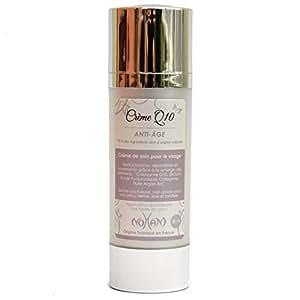 Crême anti-âge Q10 : meilleure crème anti-rides pour le visage : Acide hyaluronique Silicium, Collagène marin, Coenzyme Q10, Huile d'argan, Huile de jojoba, Beurre de Karité,
