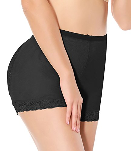 NINGMI Damen Nahtlose Unterwäsche Kolbenheber Padded Hip Enhancer Bauch Kontrolle Shapewear Control Höschen Körperform Schwarz