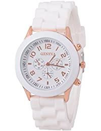 Sannysis Jalea de gel de silicona de cuarzo analógico Deportes Mujeres reloj de pulsera