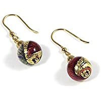 Earrings, woman pendants in 925 silver 24kt yellow gold plated, Murano glass enhanced by a yellow gold leaf made in Florence. OID030/Y03