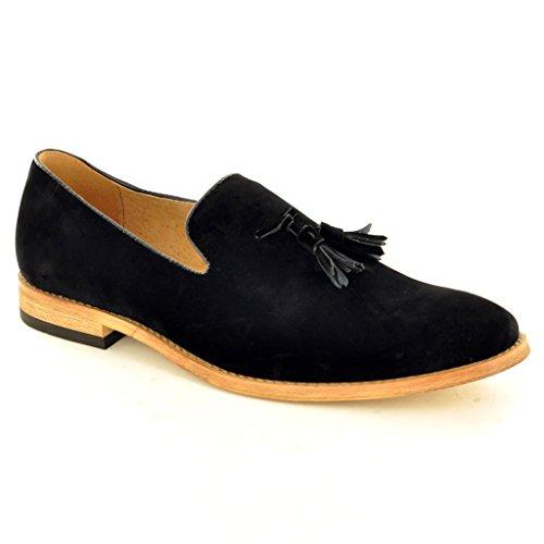 My Perfect Pair Men, Slip De Cuero Forrado En Mocasines Con Borla De Gamuza Black Shoes