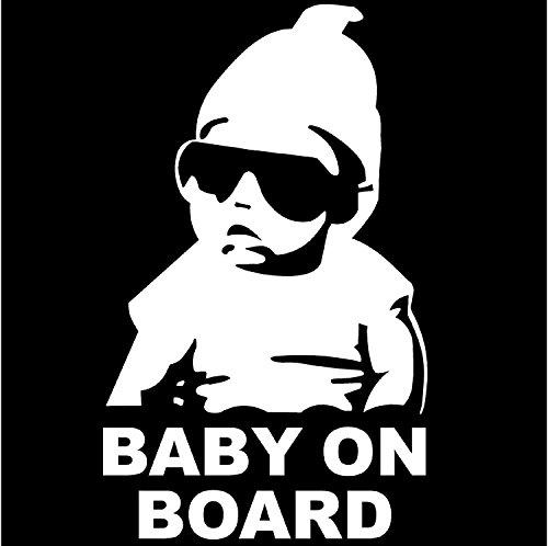 Cool Aufkleber Auto (Baby On Board COOL Lustig Aufkleber Sticker Silber glänzend für Auto KFZ Fenster)