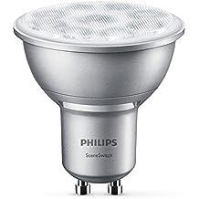 Philips SceneSwitch - Bombilla LED, casquillo GU10, 4,5 W - 1,3 W, cambia entre 3 tonalidades de blanco, requiere regulador, a menor intensidad mayor calidez de luz