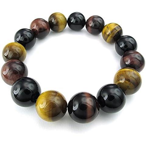 KONOV Joyería Pulsera de hombre, Natural Cristal de Roca Bola, 14mm Ojo de Tigre Ágata Ónix, Color amarillo rojo negro (con bolsa de regalo)