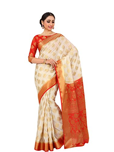 Mimosa By Kupinda Women's Art Silk saree Kanjivaram Style Color : Off...
