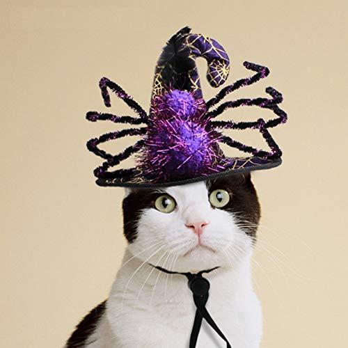 Stock Show Tierhut für Halloween, Violett und Schwarz, Hexenhut mit Spinnen-Deko, lustiges Party-Halloween-Kostüm, Kopfbedeckung, Cosplay, Kleidungszubehör für Katzen, Kleine Hunde
