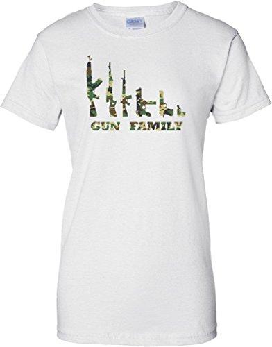 Gun Family - Camo Design - Ladies T Shirt - White - 16
