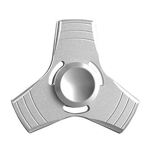 GSTEK Fidget Spinner Aleación de Aluminio, Juguete de Reducción de Estrés, Juguete Enfocado para Niños y Adultos, Spinner de Mano para Eliminar la Ansiedad y Aburrimiento (Plata)