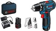 Bosch Professional 12V System sladdlös skruvdragare GSR 12V-15 (med 2x 2,0Ah-batterier + laddare, 39-delars-t