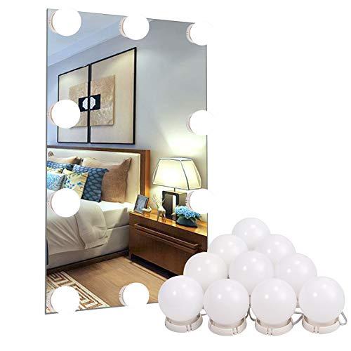 10Stk LED Spiegelleuchte Spiegel Beleuchtung (Schminklicht, Spiegellampe, Schminkleuchte, Make-up Licht Schmink Lampe), Schminktisch Leuchte Spiegellicht Set für Kosmetikspiegel / Schminkspiegel (Make-up-tisch Beleuchtung Mit)