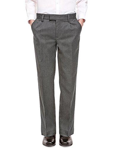EX M&S Boys Black Grey Charcoal Navy School Trousers Elastic Adjustable Waist 2-16 yrs