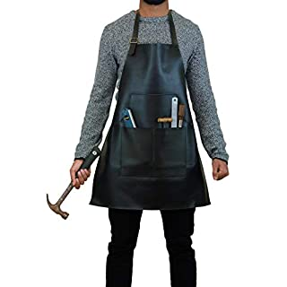 Sandy Beach Premium Genuine Split Cowhide Leather Heat Flame Resistant Welding Carpentry Builders Blacksmiths Cooking Kitchen Apron