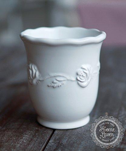 Zahnputzbecher Becher -Juliet- Keramik weiß Bad Nostalgie Landhaus Shabby French