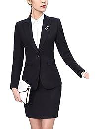 SK Studio Damen Karriere Hosenanzuge Slim Fit Blazer Reverskragen Karriere  Hosen Anzug Set 295176d6c1