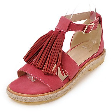 LvYuan Sandalen-Outddor Kleid Lässig-Kunstleder-Flacher Absatz-Komfort Gladiator Leuchtende Sohlen-Schwarz Braun Rosa Beige Pink